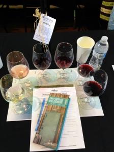 At Niner Wine Estates - flight tasting from 6 wineries